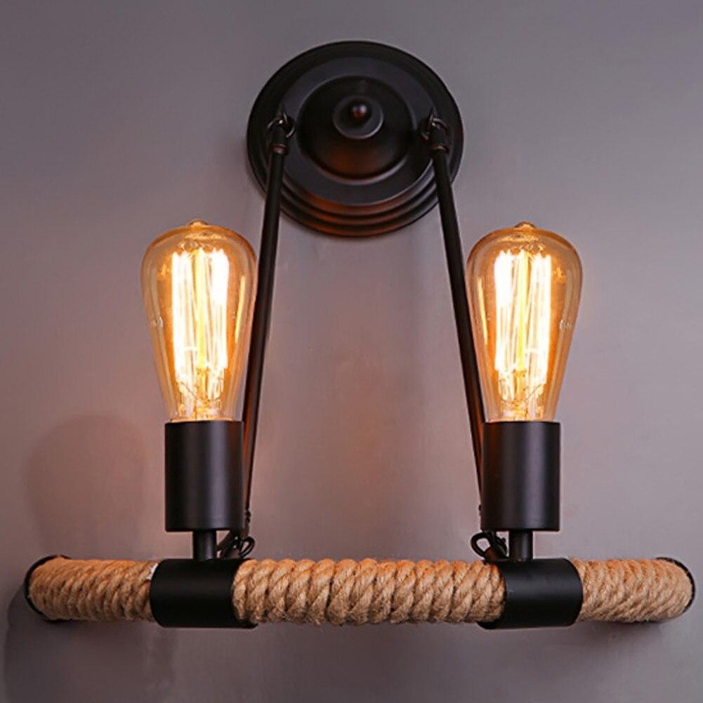 Creative industrial lamps - Coffee Shop Bar Creative Decoration Wall Lamp American Retro Industrial E27 Metal Wall Light With Hemp