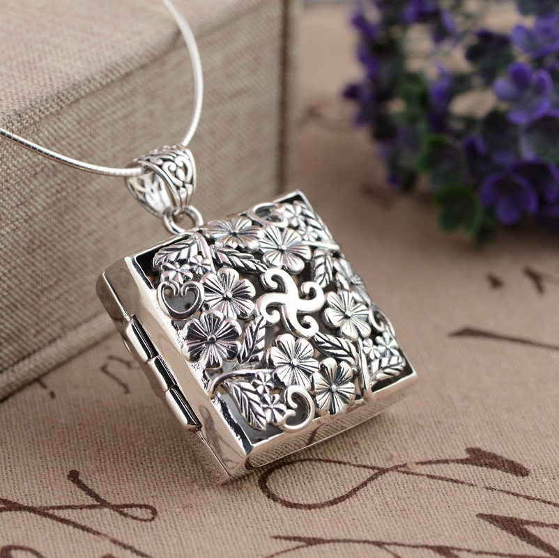 Thai silver S925 silver pendant box wholesale gawu antique crafts hollow blossoming open Pendant xiangyuan wholesale sterling silver s925 silver pendant antique crafts buddhist ritual vajra evil pendant