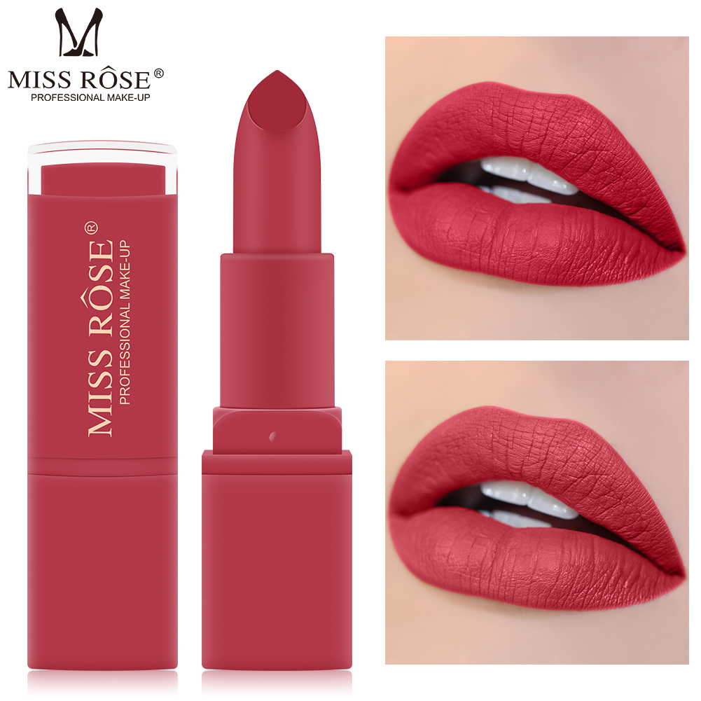 <font><b>MISS</b></font> <font><b>ROSE</b></font> 12 Color Longlasting <font><b>Lipstick</b></font> <font><b>Matte</b></font> <font><b>Set</b></font> Waterproof Dark Red Nude Lips Tint Cosmetics Sexy Batom Makeup Tool TSLM1 image