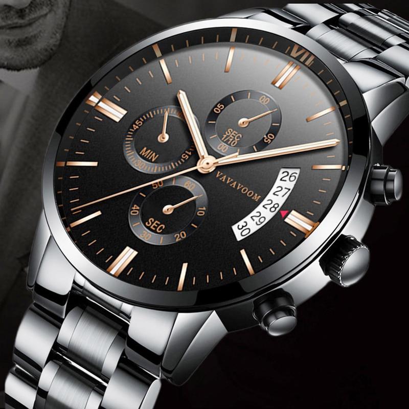 Luxury Top Brand Mens Watches Clock Waterproof Stainless Steel Quartz Watch Men Calendar Fire-Proof Scratch Resistant Wristwatch