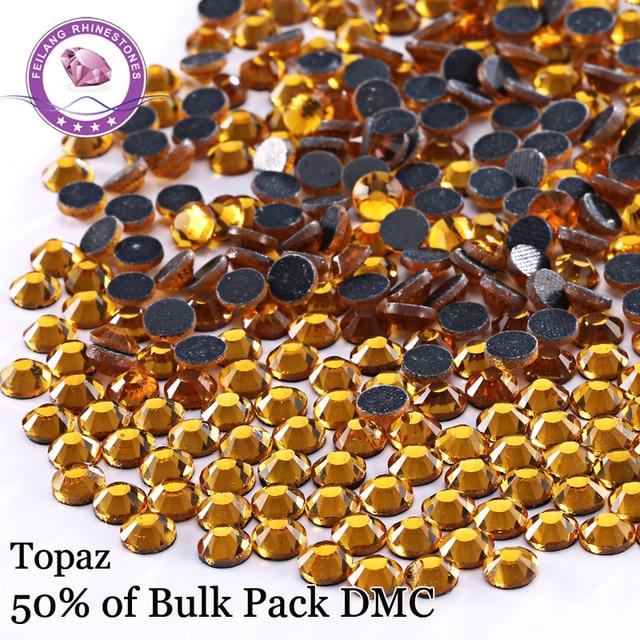 Promotion! High Quality SS6-SS30 Topaz DMC Hotfix Rhinestones For Clothing Accessories Iron On Flatback Stones