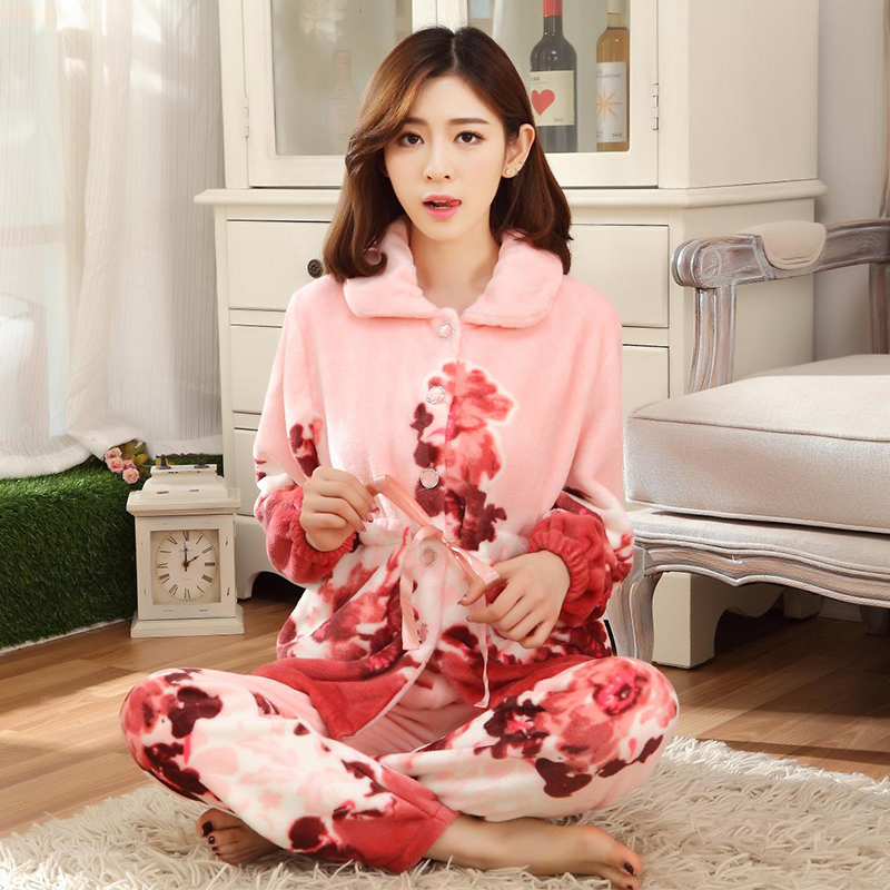db4945de7c10 plus size 3XL 4XL Women pajamas Warm Flannel Pajama Set Flower Print ...