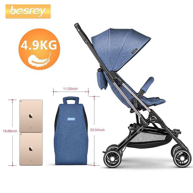 Besrey Cápsula Carrinho De Bebê Leve Ar Avião Viagem Mini 4 Rodas Carrinho De Bebê Carrinho de criança Dobrável Portátil Infantil Baby Carriage