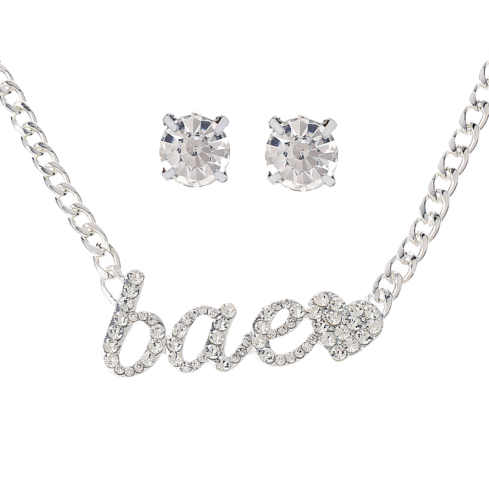 Fashion Necklace Earring sets MothersDay Gift Silver Neck Choker Chunky Chain Bae heart Pendants Gold Cystal necklace forwoman