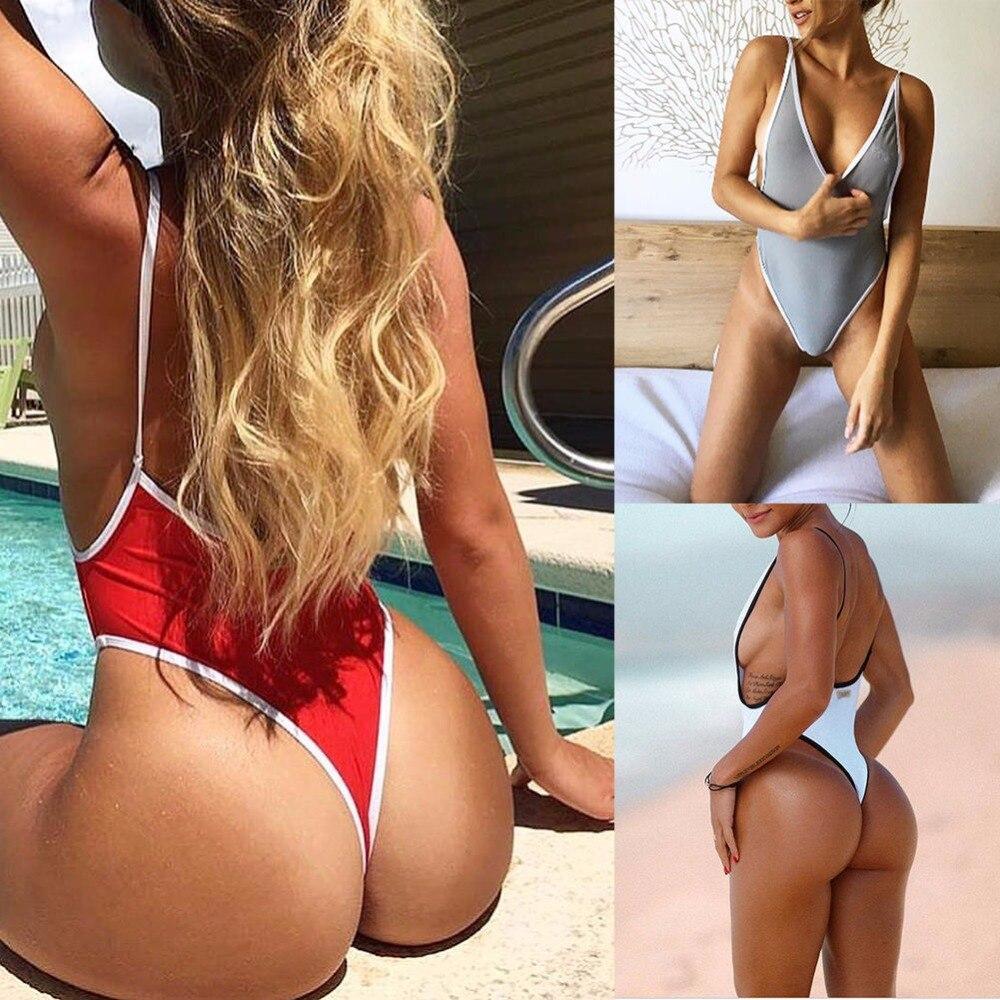 6383fd40294 White Sexy Deep V One Piece Swimsuit Thong Swimwear Women Trikini 2018  Bodysuit High Cut Female