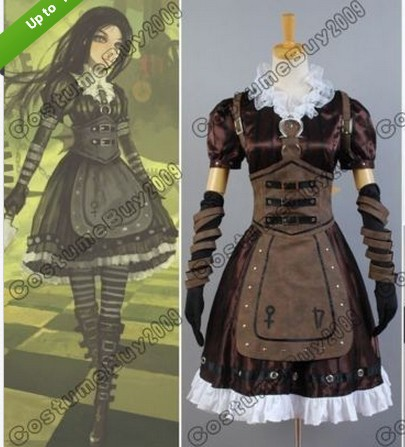 Alice Madness Returns Steamdress Cosplay Costume Alice Madness Returns Dress Costume Halloween Carnival alice madness returns heroine alice cosplay costume black white striped customized anime uniform