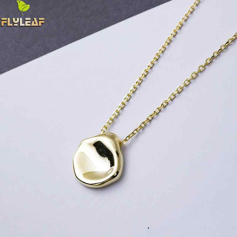 Flyleaf Gold Silver Irregular Shaped Necklaces & Pendants For Women Personality Lady 100% 925 Sterling Silver Fashion Jewelry