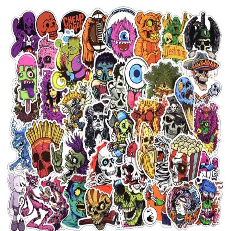 50 Stücke Terror Serie Aufkleber Graffiti Skeleton Dunklen Lustige Aufkleber Für Diy Aufkleber Auf Reise Fall Laptop Skateboard Gitarre Kühlschrank äSthetisches Aussehen