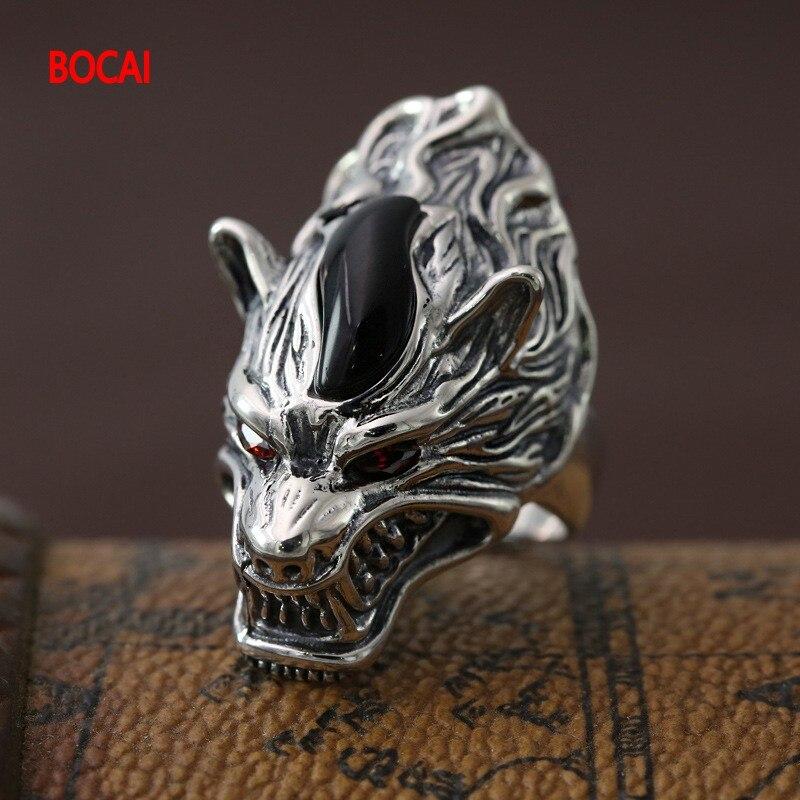S925 bijoux en argent Sterling mode bague en argent rétro personnalité homme loup totem loup légendes anneau