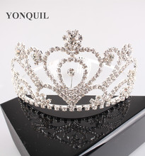 Free Ship Gorgeous Sparkling Wedding Diamante Pageant Tiaras Queen Hairband Crystal Bridal Crowns Hair Jewelry 3pcs
