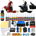Complete Tattoo Kit  2 Pro Machine Guns Tattoo Machine Kit Power Supply Needle Grips 14 Ink Color Makeup Set TK203-28