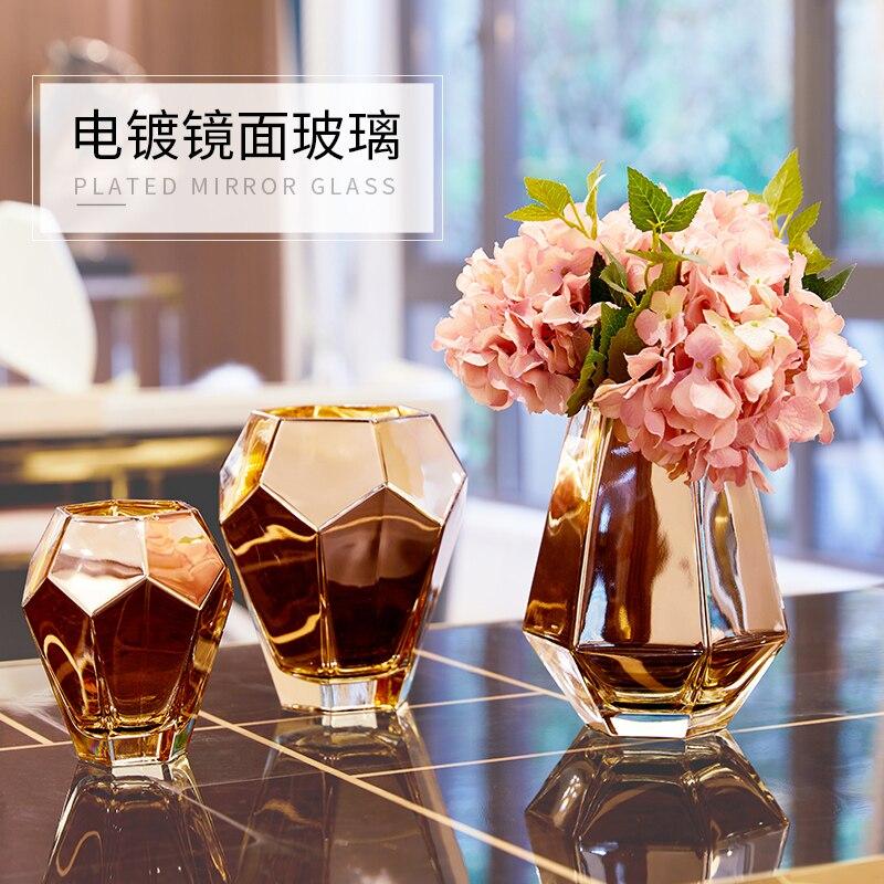 Nordic золотой стеклянная ваза широкий рот Цветочная композиция гостиная стол украшения дома