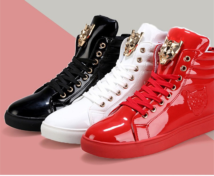 Fashion Leopard Sequined Skate Shoes For Men Ankle Boots 2015 New PU Patent Leather Shoe High Top Casual Flats Medusa Shoes F184 (1)