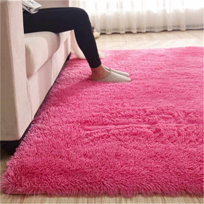카펫 홈 섬유 일반 미끄럼 방지 깔개 거실 침실 소파 유럽 짙어지면서 플러스 부드러운 실크 매트 침대 옆 담요 100x200 cm