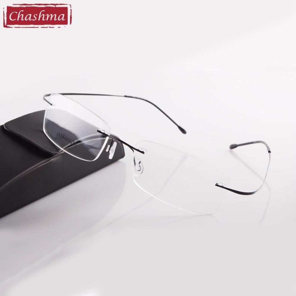 Chashma Brand Titanium Rimless Glasses  Myopia Glasses Frame For Man And Woman