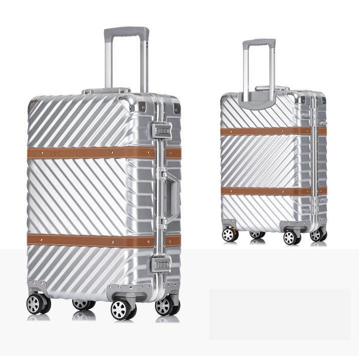202426 29 Women Travel Rolling Luggage Aluminum Frame Checked Boarding Cabin Case Spinner Trolley Suitcase Mala De Viage Lustrous Hardside Luggage Luggage & Travel Bags