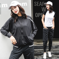 2018 New Women Yoga Set Running Jacket Shirt Bra Pant Tracksuit For Female Sport Suit Fitness Breathable Black White Gym Clothes