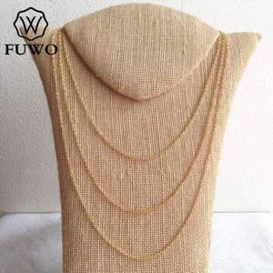 Image 4 - Fuwo atacado latão redondo o corrente colares de alta qualidade anti mancha 24k ouro mergulhado corrente para fazer jóias 1.5*2.0mm nc001