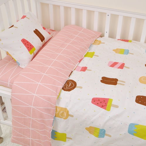 3pcs set 100 Cotton Kids Baby Crib Bedding Set My Princess Pink Ice Cream Bed Linen