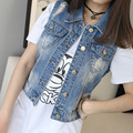 2017 Free Shipping New Womens Vintage Washed Blue Denim Sequin Embellish Jean Vest Sleeveless Jacket Free Shipping
