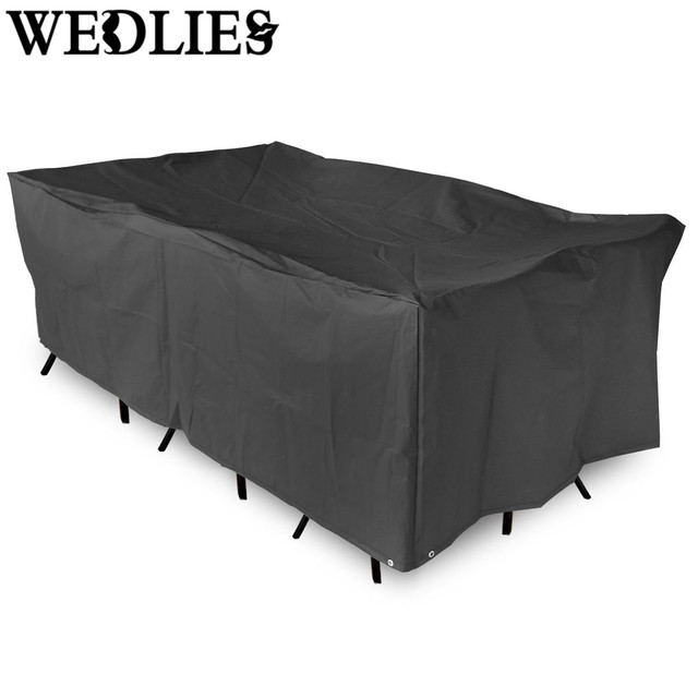 Black Polyester Garden Patio Table Cover Waterproof Outdoor