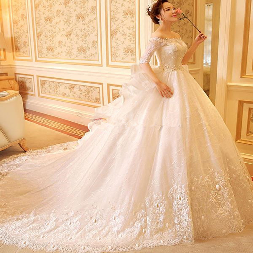 Gorgeous Lace Half Sleeves Ball Gown Wedding Dress 2017