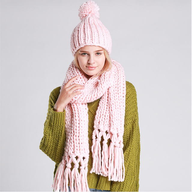 Superior Hot Hot Sale Winter Knitted Scarf and Hat Two Pieces Set for Women Thicken Knitted Faux Fur Scarf Hat Beanie CA905