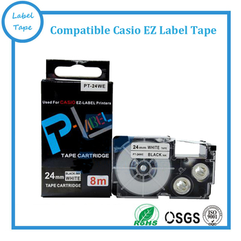 10PK EZ tape cartridge XR-24WE/XR-24WE1(24mm*8m. black on white). Perfect compatible for EZ labelling machines