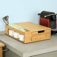SoBuy FRG256 N, Coffee Machine Stand & Coffee Pod Capsule Teabags Box Holder Organizer with Drawer, Bamboo