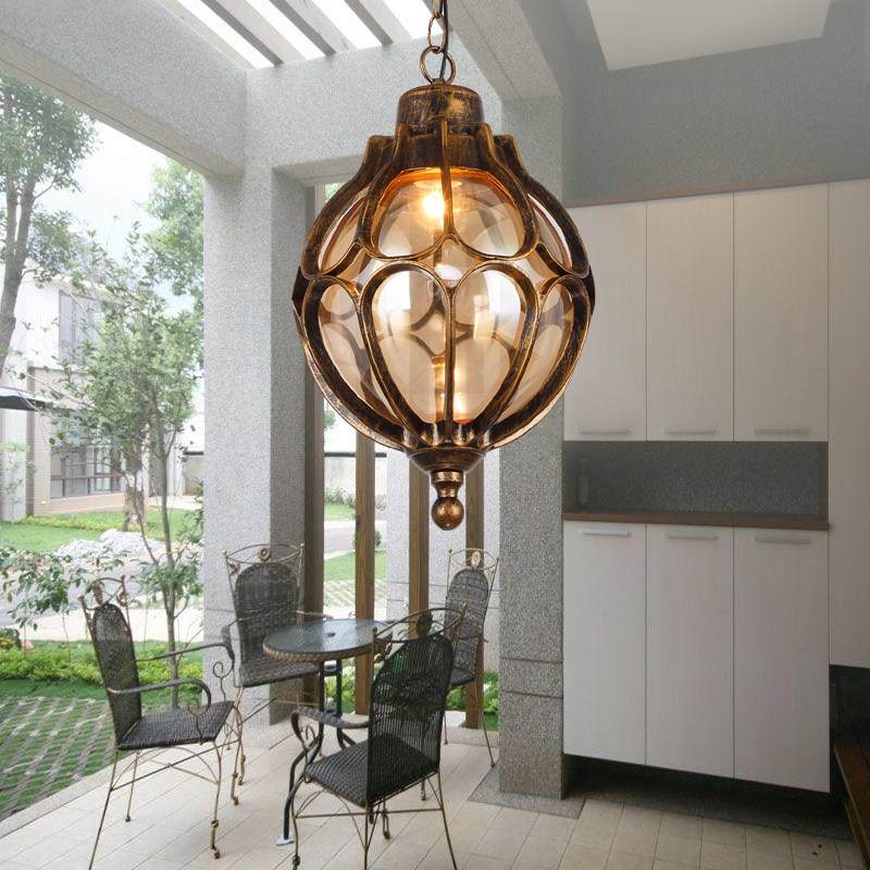 Outdoor Light Personalized Vintage Pendant Lamps Balcony Corridor Courtyard Villa Pavilion Grape Waterproof Pendant Lights