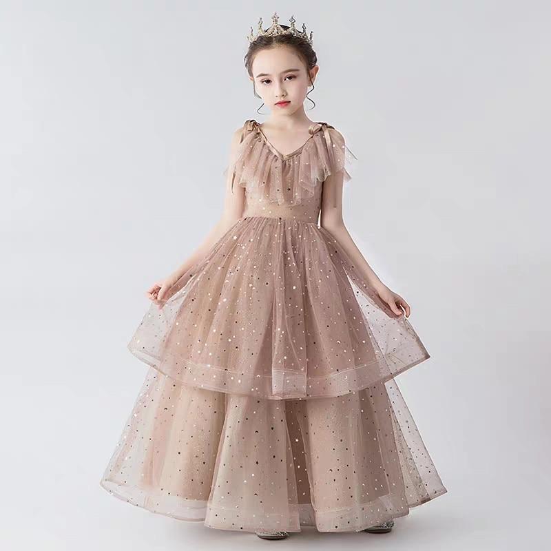 Children Girls High-Grade Gorgeous Sequined V-Collar Evening Party Birthday Dress Kids Teens Host Model Show Communication Dress