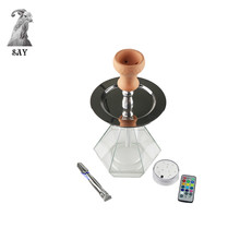 SY 1set Polygonal Acrylic Hookah Set Shisha Water pip Complete  Remote Control Lights Narghile