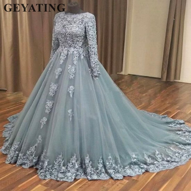 1533d8ad5fb Elegant Ball Gown Muslim Wedding Dress with Long Sleeves Lace Appliques  Bridal Gowns Islamic Saudi Arabia Grey Wedding Dresses ~ Perfect Sale May  2019