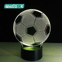 Lámpara de mesa de Led Visual 3D de fútbol, luz nocturna con USB, siete Cambios de color, decoración para el hogar