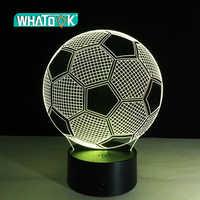Sete cores mudando bola de futebol luz 3d visual led night light usb novidade candeeiros mesa como decoração para casa além lampara