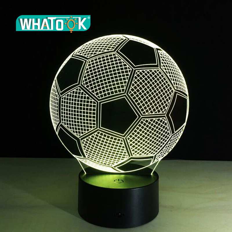 Seven Colors Changing Soccer Ball Light Football 3D Visual Led Night Light USB Novelty Table Lamps as Home Decor Besides Lampara image