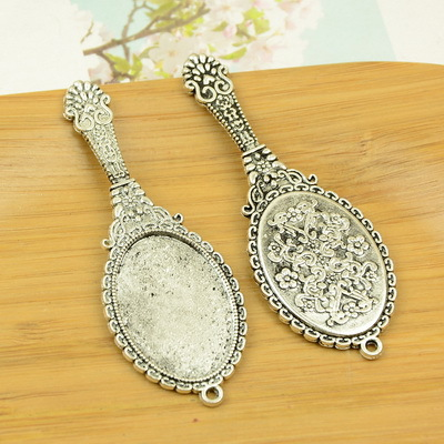 free shipping  10pcslot A4684 antique silver  mirror  shape alloy charm pendant fit jewelry making 73x26mm wholesale