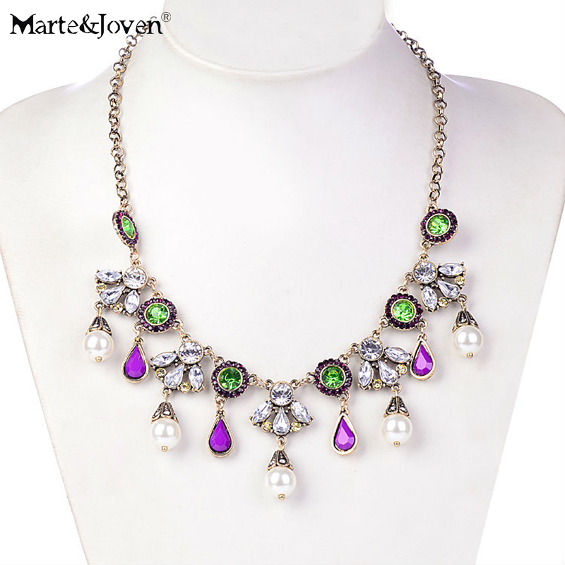 [Marte&Joven] Vintage Women Indian Style Jewelry   Pearl Water Drop Flowers Pendant Chain Necklace Wholesale Choker Necklaces
