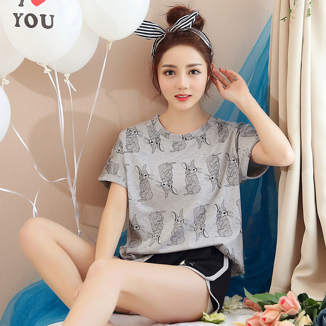 e8dd079c77a9f Korean Pajamas Summer Cotton Home Service Short-sleeved Suit Sweet And Cute  Printing Rabbit Students Girls Home Sleep Suits