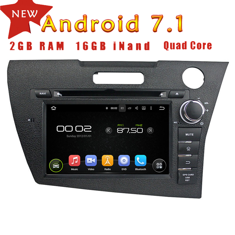 WANUSUAL 7 Inch Quad Core 16G 2G RAM Android 7.1 Car Multimedia Player for <font><b>HONDA</b></font> <font><b>CRZ</b></font> <font><b>GPS</b></font> Navigation with BT WIFI 1024*600 Maps image
