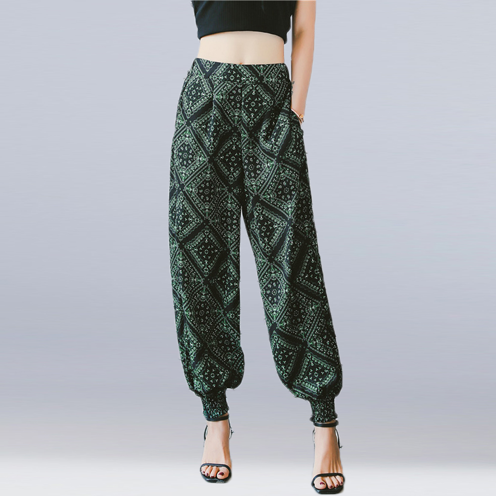 New 2019 Women Summer Loose   Wide     Leg     Pants   High Elastic Waist Printed Bloomers   Pants   Ladies Casual Bohemian Beach   Pants   Trousers