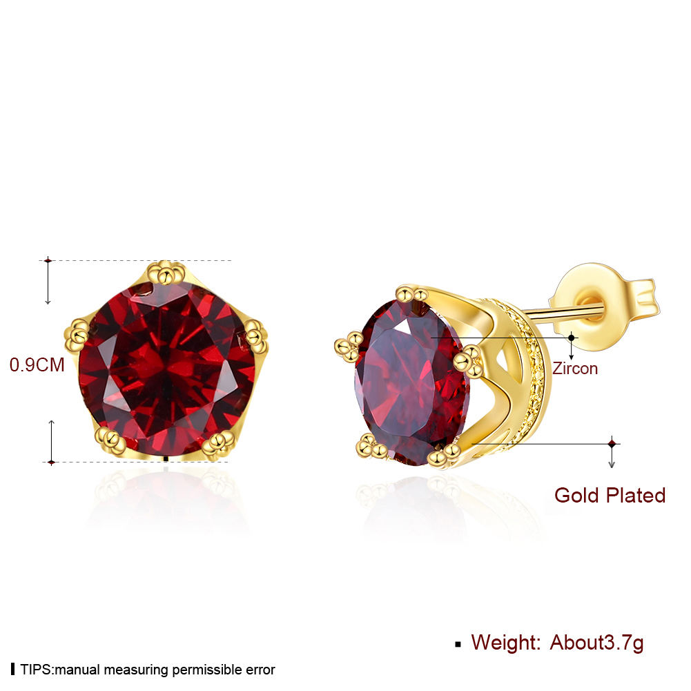 INALIS Romantic Style Red Zircon Plated Gold Colour Stud Earrings For Women Girl Female Party Temperament Jewelry Mothers Day