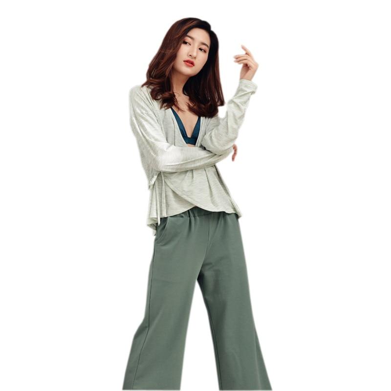 Spring 2019 New Japanese Kimono Loose Pajamas Womens Long Sleeved Trousers Pajamas Leisure Pijama Suit Modal V-Neck Sleepwear