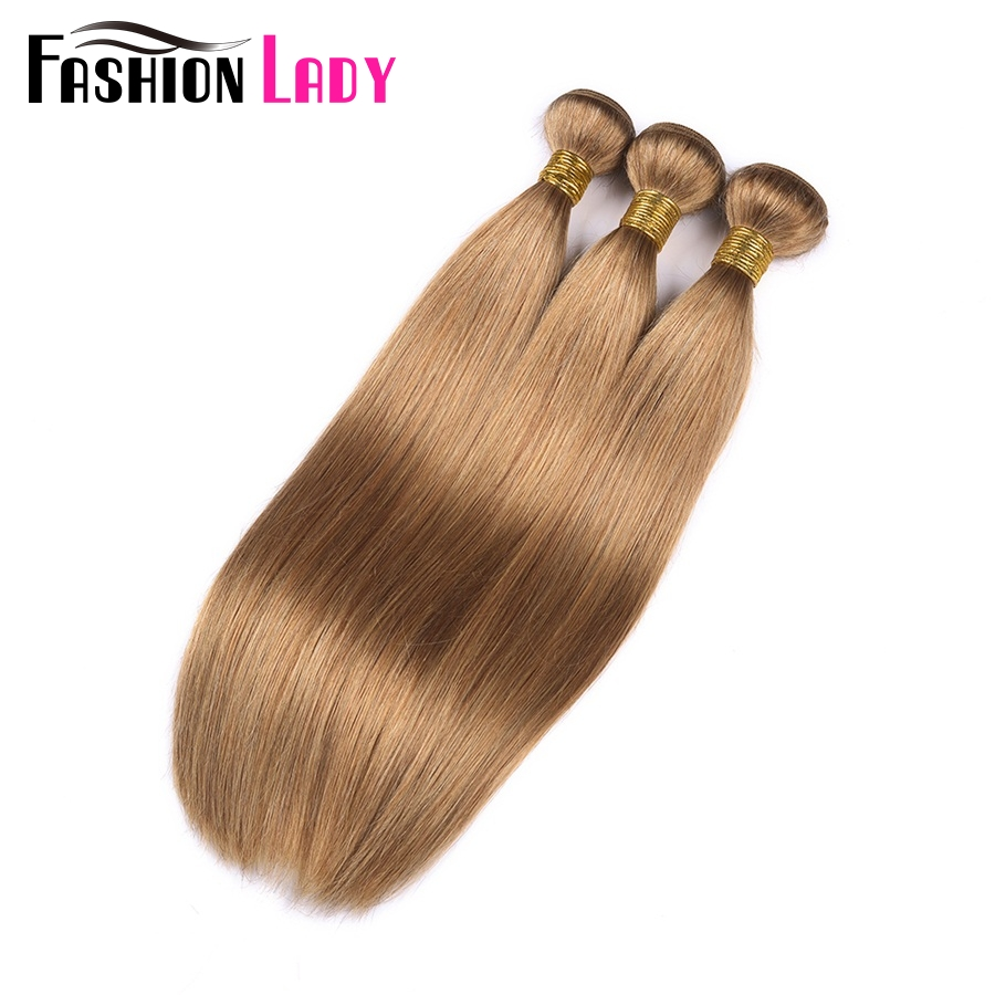 FASHION LADY Pre-Colored Brazilian Straight Hair Extension Human Hair #27 Blonde Bundle Deals 1/3/4 Bundle Per Pack Non-Remy