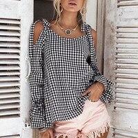 Womens Autumn Cotton Long Sleeve plaid Blouse Ladies Off Shoulder Bow-knot Bandage Flare sleeve Blouses Camisetas ji8