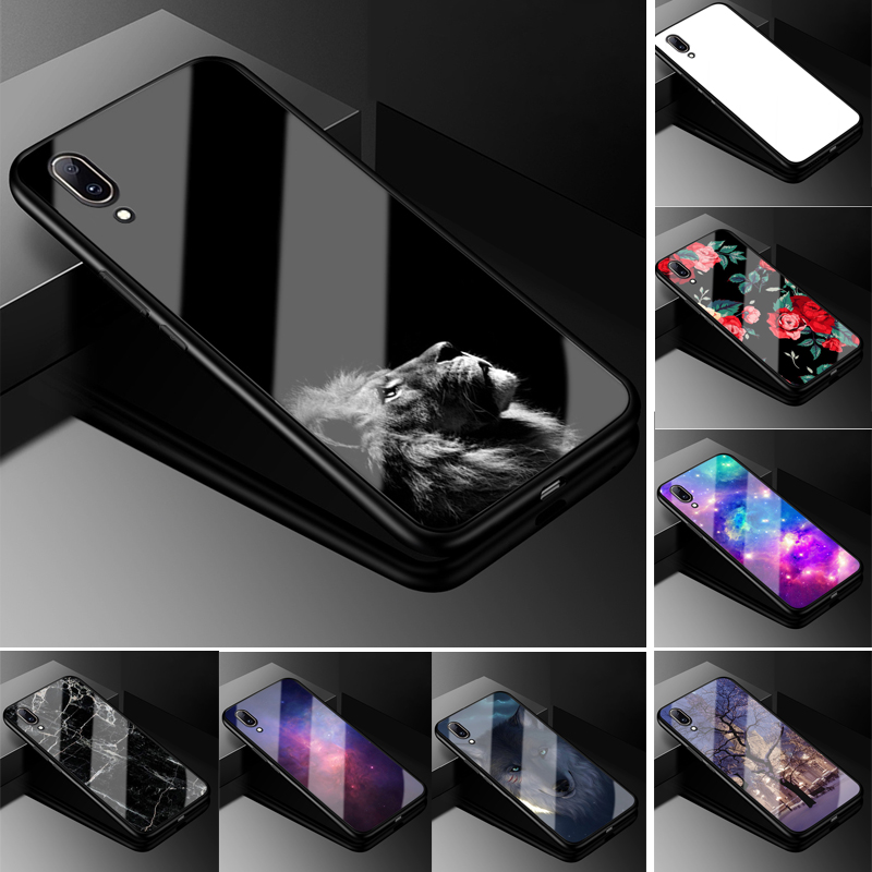 Tempered Glass Case For Vivo Y17 Z5X Y91C U1 Y81 Y83 Y95 V11 Y3 Cover Soft Bumper Back Case For VIVO Y95 Y 95 Glass Back Cover