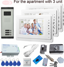 4-Wire Video Door Phone Intercom Electronic Rfid Door Lock Home Phone Doorbell With Camera 3 Buttons CCD Lens 700TVL  HD Camera