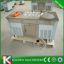 Stainless steel R410 refrigerant Commercial 2 pans with 10 cooling food tanks ice cream machine for sale