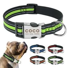 Coleira de cachorro personalizada reflexiva, coleira de náilon para animais de estimação, identificação personalizada, para tamanho médio e grande s L