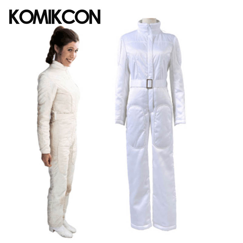 Woman White Jumpsuit Star Wars A New Hope Princess Leia Organa Cosplay Costume Halloween Outift Christmas Outwear star wars princess leia organa cosplay wigs halloween costume wig synthetic fiber wig free shipping 2015 hot sales